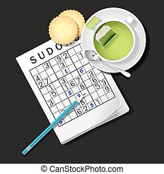 illustration of Sudoku game, mug of green tea and cracker -...