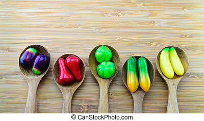 Fruit-shape desserts made of mung-bean flour with natural colour