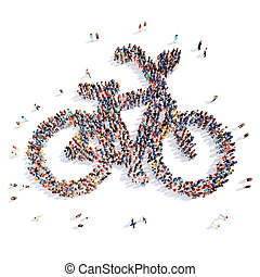 people in the form of a bicycle - Large group of people in...