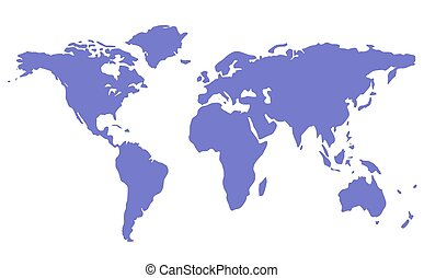 blue isolated world map silhouette