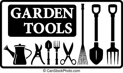 garden tools collection - set black isolated garden tools...