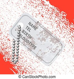 Military Dog Tag on Blood Background. Silver Identity Tag.