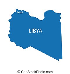blue map of Libya
