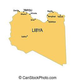 yellow map of Libya
