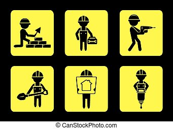 set yellow construction icons