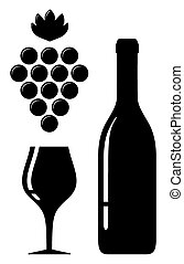 wine glass and bottle silhouette - black icon with wine...