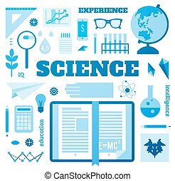 Set open book about science.