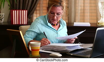 Business Woman Signing - Middle Age Blonde Business Woman...