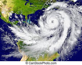 furacão, sobre, a, Atlântico,