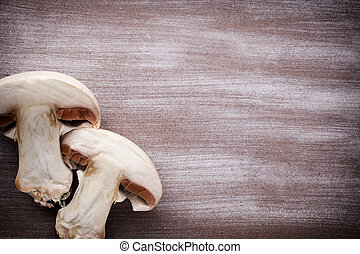 Champignon - Fresh champignon on a wooden table New crop