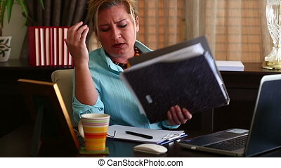 Business Woman Working - Unhappy Middle Age Blonde Business...