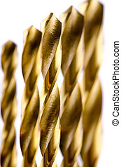 Drill bit metal bronze color on white background