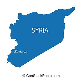 blue map of Syria