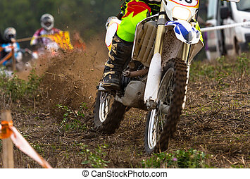 Motocross bikes street racing on the mountain
