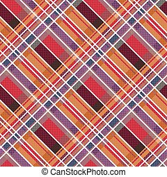 Rhombic tartan fabric seamless texture in warm colors -...