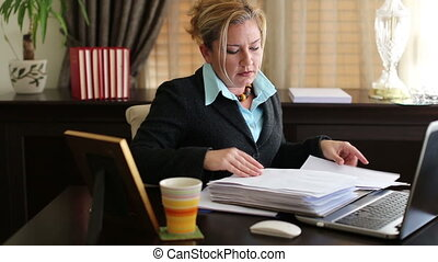 Business Woman Working - Attractive Tired Middle Age Blonde...