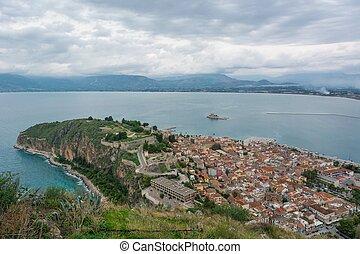 Aerial view of a coastal town.