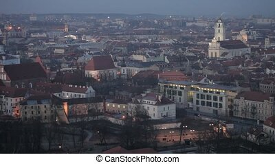 Vilnius Old Town at dawn time - Panorama of the Vilnius Old...