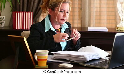 Business Woman Working - Attractive Middle Age Blonde...