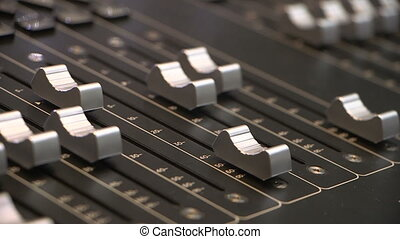 Audio mixing console fader - Levels of Audio console move...