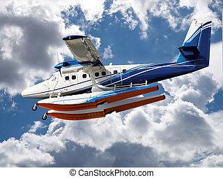 Seaplane - seaplane prepare for landing