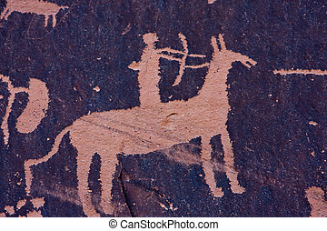 Petroglyphs at Newspaper Rock, Indian Creek, Utah -...