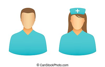 Nurse icons - Male and female nurse icons