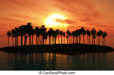 Palm tree island at sunset