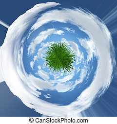 Abstract grassy globe image - Abstract grassy globe with...