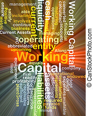 working capital wordcloud concept illustration glowing -...