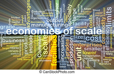 economies of scale wordcloud concept illustration glowing -...