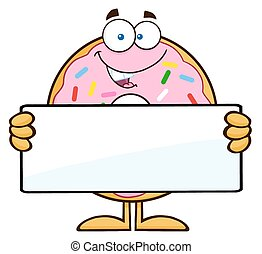 Donut With Holding a Blank Sign