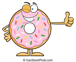 Winking Donut Cartoon Character