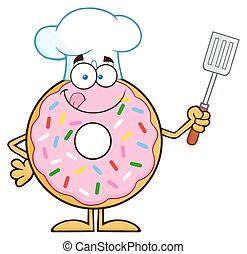 Chef Donut Character - Chef Donut Cartoon Character With...