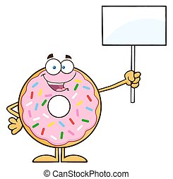 Happy Donut Holding Up A Blank Sign