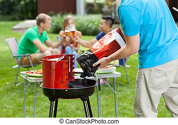 Summer grill - Group of young people spending free time in...