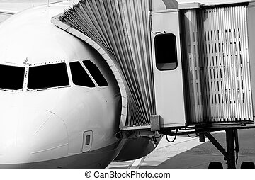 Airplane front view - The front view of an aircraft with a...