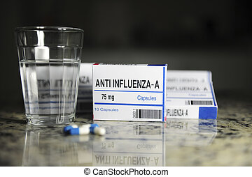 Pill packages anti flu with glass of water