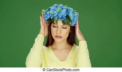 Woman in Floral Blue Headdress
