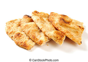 Naan - Wedges of naan bread on a white background with...