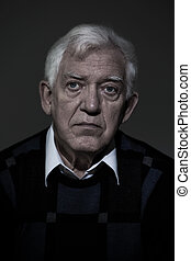 Gloomy man - Portrait of senior lonely gloomy man