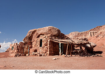 Native American cliff dwellings in Cliff Dwellers, Arizona -...