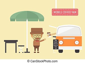 mobile coffee van, hipster lifestyle on street