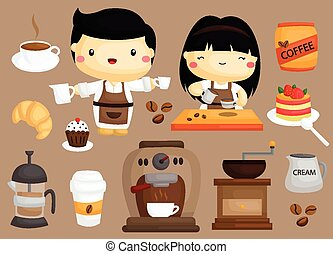 Coffee Cafe Vector Set