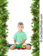Christmas framework with boy isolated on white background