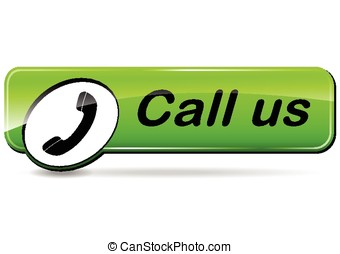 call us button - illustration of call us green design web...
