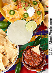 Margarita and Mexican Food - Overhead view of a margarita...