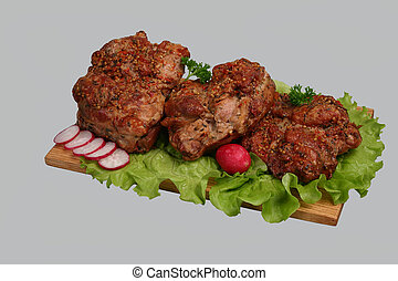 Smoked chicken kebab on wooden board. - Smoked chicken kebab...