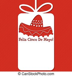 Sombrero cut out tag card in vector format