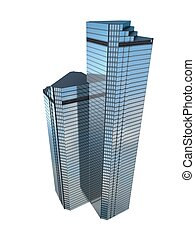 twin skyscraper - twin business skyscraper isolated on white...